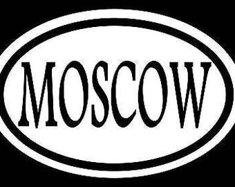 Moscow Sticker Decal Vinyl Oval Russia Ussr Red Square Love