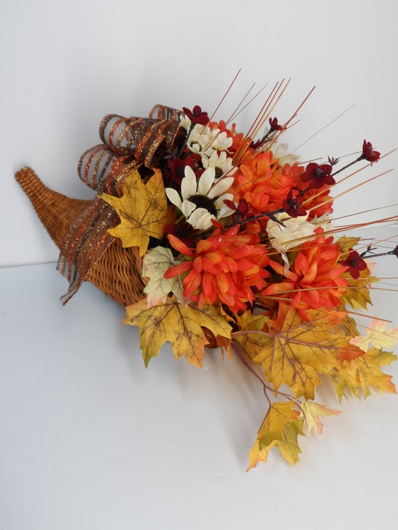 Thanksgiving floral cornucopia centerpieces