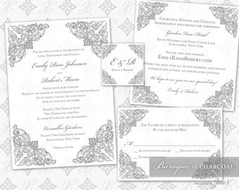 DIY Printable Wedding Invitation Template Set | Printable Invitation Suite (5x7) | Baroque in Charcoal