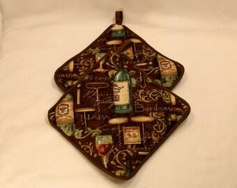 "Wine Pot Holders/Hot Pads- Thick - ""Wine Regions"" - Great Shower/Wedding Gift - Kitchen/Housewares Item - Gift under 15"