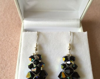 Swarovski Elements Jet AB or Crystal AB STS Earrings