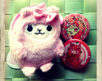 Pink Alpaca Coin Purse and Pin buttons