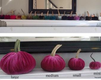 1 Small Handmade Silk Velvet Pumpkin With Real Stem