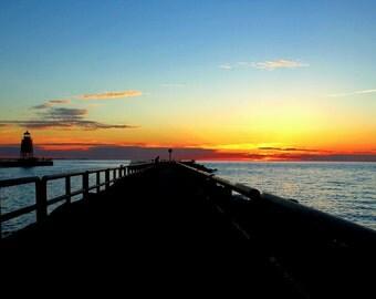Lighthouse at Sunset, Charlevoix, Michigan, Great Lakes, Lake Michigan Fine Art Photography