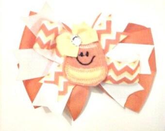 Candy Corn Hair Bow , Halloween Hair Bow , Stacked Hair Bow , Children's Hair Bow