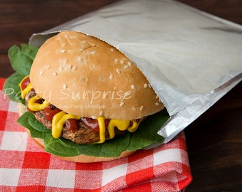 Hamburger Wrapper, Hamberger Foil Bag, Hot Sandwich Wrapper, Bar-b-que Foil Bags, Picnic Foil Bags, burger bag