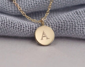Solid 14k gold personalized disc necklace initial necklace message necklace