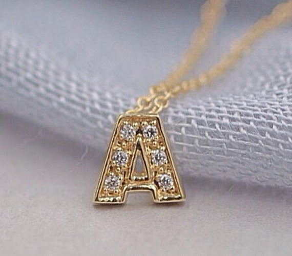 14k solid gold diamond initial necklace name necklace by. Black Bedroom Furniture Sets. Home Design Ideas