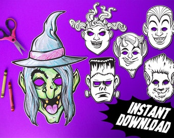 PRINTABLE Monster Coloring Masks, 6 kids paper halloween masks, DIY halloween costume parties, instant download PDF, photo booth props