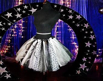 Black & White Polka Dot Adult Tutu Skirt