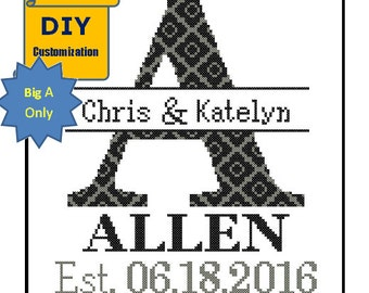 Instant Download DIY customizable Cross Stitch Monogram Pattern A Initial Family Name Wedding Gift House Warming Wedding Record Anniversary