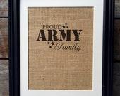 Proud Army Family Burlap Print   Military Gift   Family Print