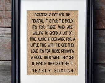 Long Distance Relationship Burlap Print | Military Print | Deployment Print | Valentine's Day Gift | Distant Love Gift