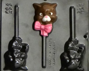 Kitty with Bow Lollipop Chocolate Candy Mold 228