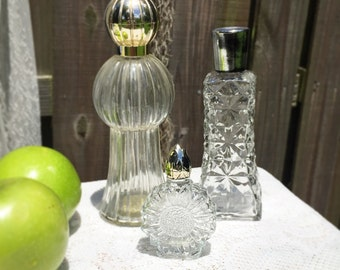 Clear bathroom set etsy for Clear glass bathroom accessories