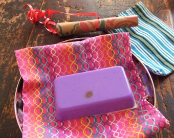 Leo~Astro Soap Bar  Lavender scented Goat milk Coconut cream Purple delight! Stone, Astrology prediction all in a cloth pouch.