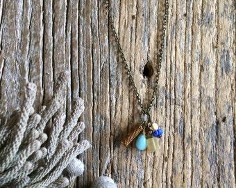Gemstone Necklace Amazonite drop-Fluorite-Czech beads-coil-Antique bronze chain N002