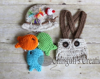 Baby Fisherman Crochet Outfit Hat Gone Fishing Hat Fisherman Baby Hat Diaper Cover Fishes Set Newborn fisherman Outfit