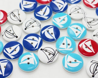 SailBoat Wood Button, Baby Children Button, Coastal Boat Buttons,Navy Blue White Red Button,Two Holes Sewing Buttons,Sweater button, 20mm