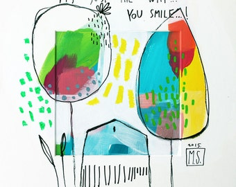 """Art Print with house and tree, yellow and blue, ABSTRACT fine Art Giclee Print """"It's just the way you smile"""""""
