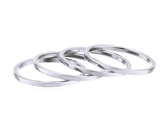 Silver Midi Ring Set (4 Rings) - Sterling Silver Plated Knuckle Stacking Rings - Size 4