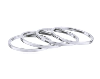 Stainess Steel Midi Ring Set (4 Rings) - Stainless Steel Plated Knuckle Stacking Rings - Size 4