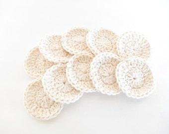 Cotton Face Scrubbie, Set of Ten - Cotton Facial Rounds - Makeup Remover Pads - Washable Cotton Rounds - Eco Friendly Cotton Balls -