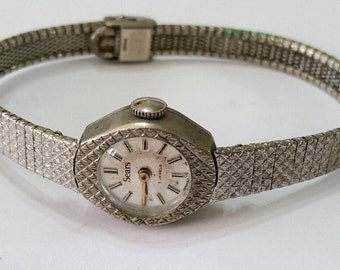 Vintage Sears Mechanical Wristwatch Movement, Dial, Case and Band - Steampunk, Altered Art Supplies - works, but needs service