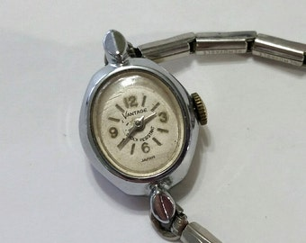 Vintage Vantage Mechanical Wristwatch Movement with Band - Steampunk, Altered Art Supplies - works, but needs service