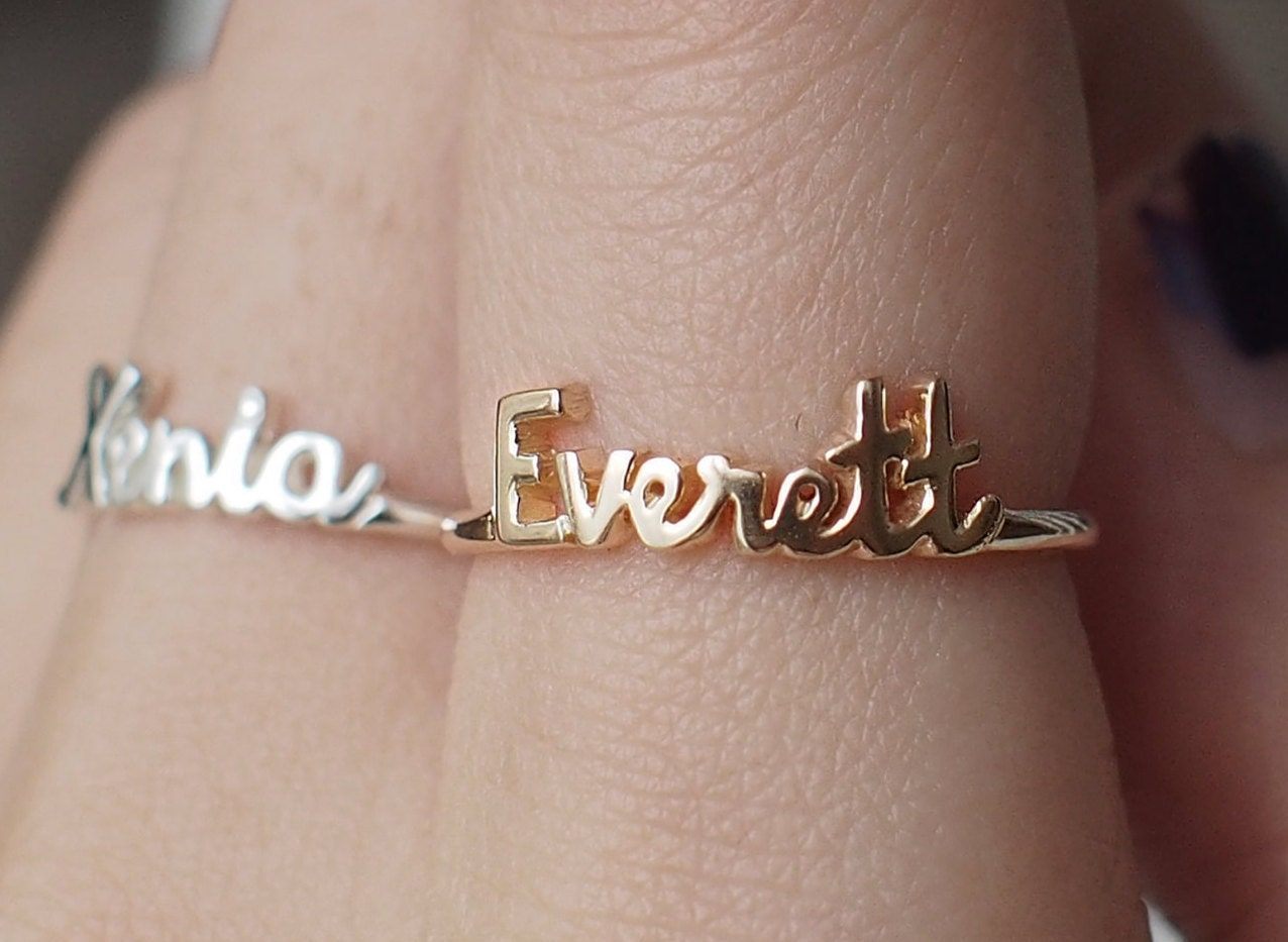 dainty name ring personalized name ring custom children. Black Bedroom Furniture Sets. Home Design Ideas