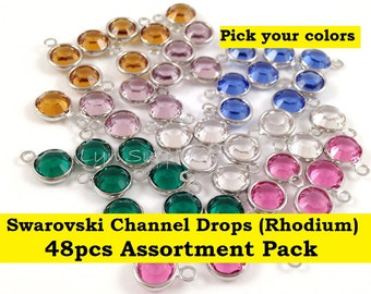 Swarovski Crystal Channel Drops 57700 48pcs Rhodium Plated One Loop - You Choose Colors