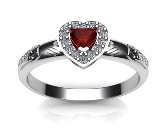 Ladies created ruby gemstone claddagh ring, contemporary Irish celtic claddagh ring.