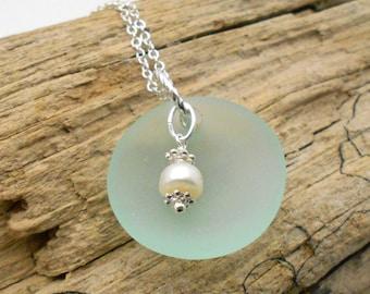 Beach Glass Necklace, Seafoam Green Beach Glass and Pearl Necklace - Beach Glass, Sea Glass, Beach Wedding, Beach Glass, Bridesmaids