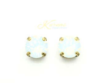 WHITE OPAL 8MM Crystal Chaton Stud Earrings Made With Swarovski Elements *Pick Your Metal *Karnas Design Studio *Free Shipping*