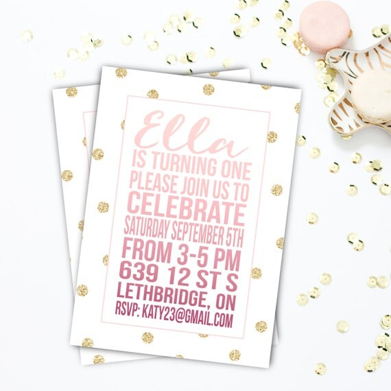 Birthday Party Invitation, Gold and Pink, Ombre, Girl's Party, Little Girl, Sparkle, 4x6 or 5x7, Digital or Printed #23