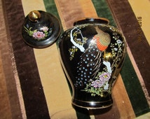 Vintage OMC Otagiri Mercantile Company Black Ornate Ginger Jar Japan Peacock Garden Design Gold trim