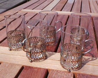 Set of 5 Arcoroc Continental Style Glasses with Metal Holders