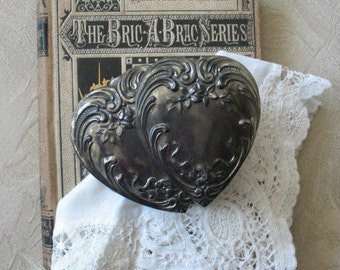 Vintage Silver Double Heart Jewelry Box  Embossed Pattern  Ornate Floral Pattern   Dainty Footed Box WhenRosesBloom