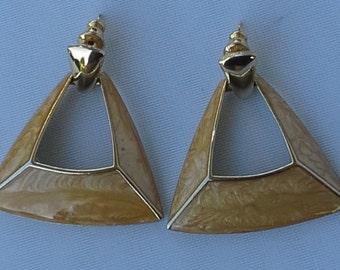 Vintage,sand color enamel on gold tone, dangle, triangle, large earrings.