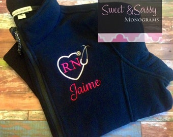 Nurse Heart Stethoscope Custom Monogrammed Full Zip Fleece Jacket, Nurse Gift. Nurse Jacket