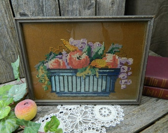 Antique Cross Stitch on Linen Still Life Fruit in Bowl