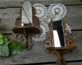 Set of 2 Antique Victorian Hardwood Mirrored Wall Sconces
