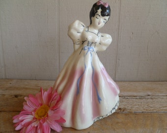 Vintage Ceramic Victorian Girl Glass Figurine Collectable