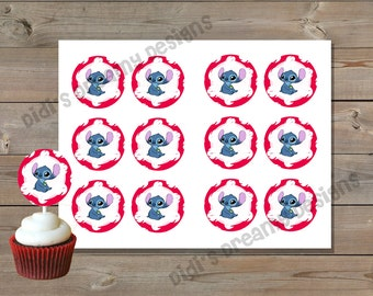 Lilo and Stitch Cupcake Topper, Gift Tags, Favor Sticker, Baby Shower, Birthday Party, Disney Inspired, Instant Download, Customizable