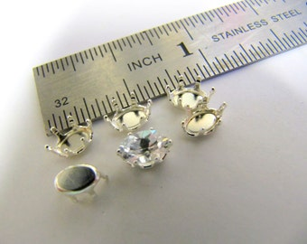 Snap-Tite Sterling Silver, 4MM X 6MM, Oval, 6 Prong, Gemstone Settings, CZ setting Wire Wrapping,