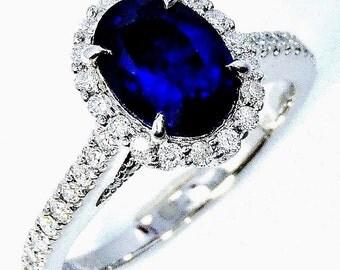 Platinum Sapphire Diamond Ring, 1.85 ct Royal Blue Ceylon Sapphire - GIA G. G Appraisal
