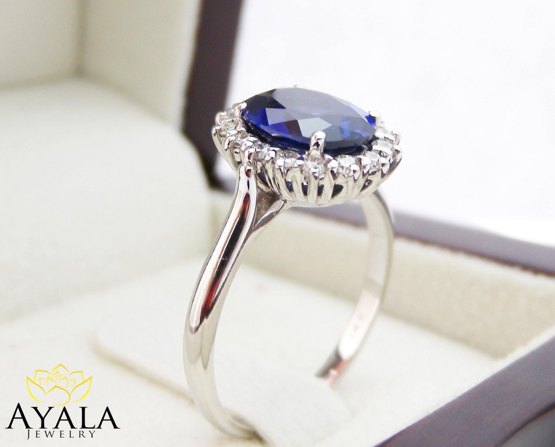 diana ring 14k white gold blue sapphire princess kate wedding ring Engagement Ring Blue Sapphire Ring Princess Diana Ring zoom