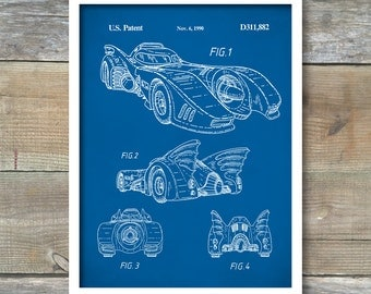 Patent Print, Batman Batmobile Poster, Batman Batmobile Patent, Batmobile Print, Batman Batmobile Art, Batman Batmobile Blueprint P112