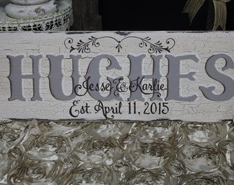 8x24 Custom Made, Completely Hand Painted, Shabby Chic, Cottage Chic, Vintage, Wood, Family Name SIGN