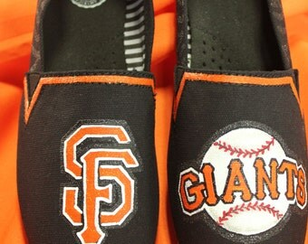 Custom Made Hand Painted San Francisco Giants Tom's Canvas Shoes